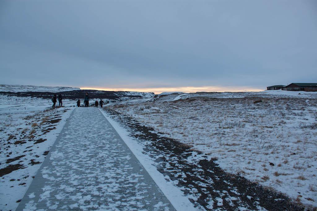 Gullfoss Waterfall in Winter - Walking Between Lookout Points