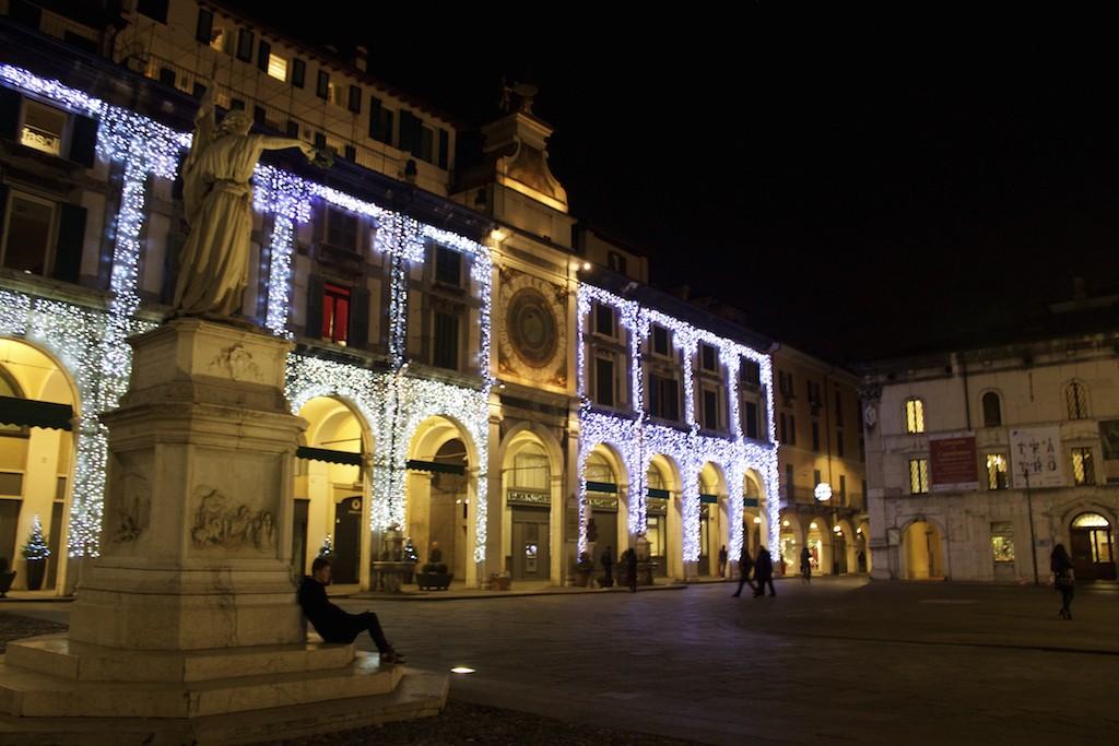 Visit Brescia - Piazza della Loggia at Night Clock Boy