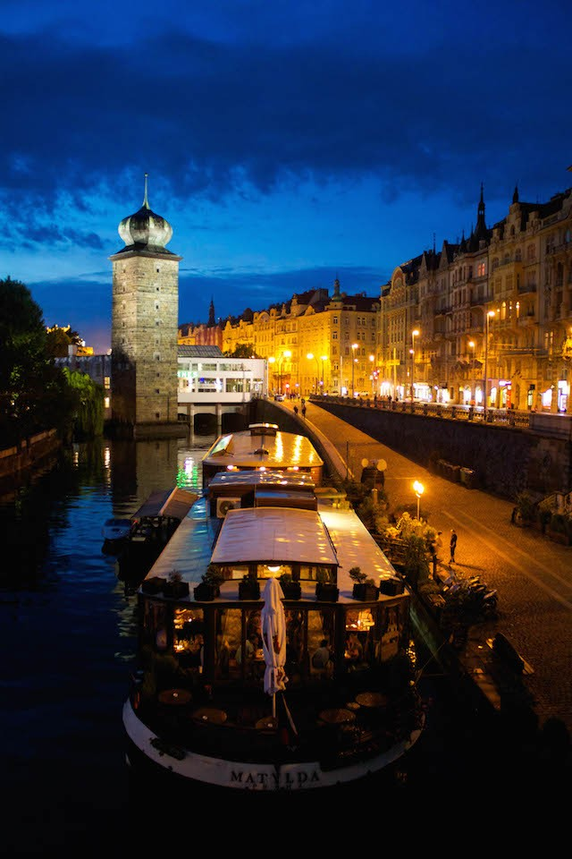 Prague Photos - By the River at Night