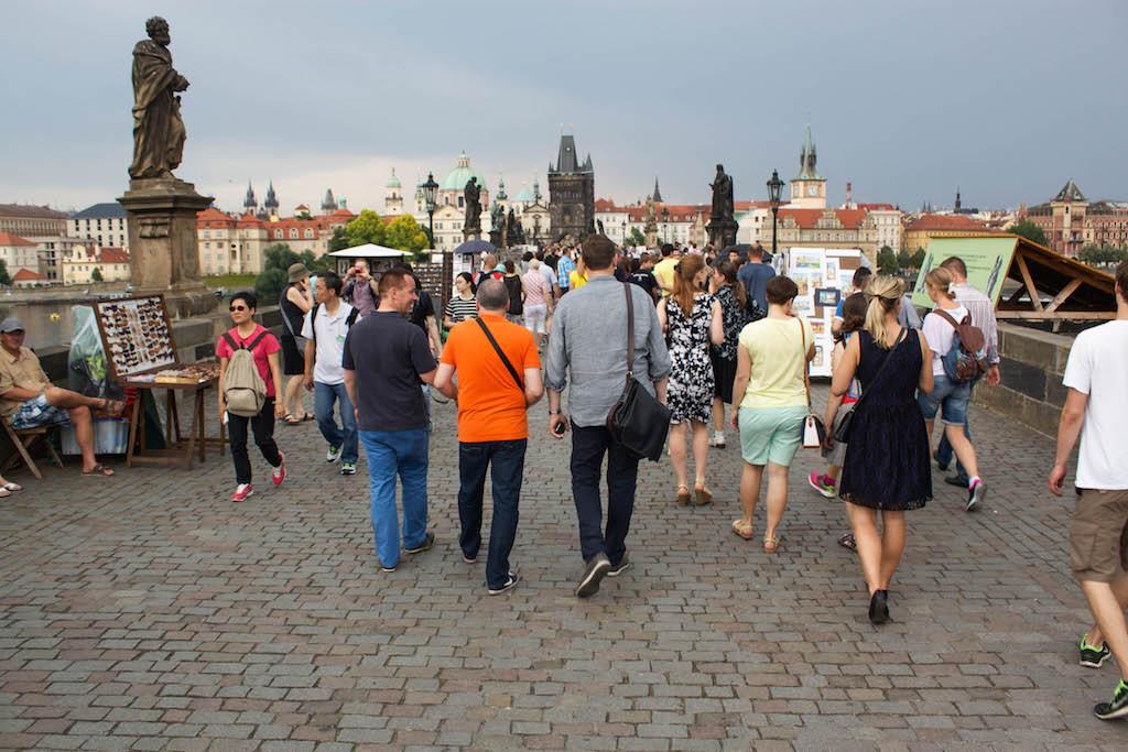 Prague Photos - Charles Bridge Tourists