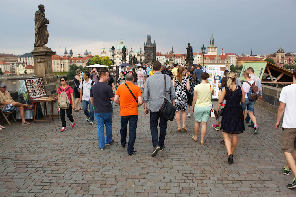 Prague Photos - Charles Bridge Tourists