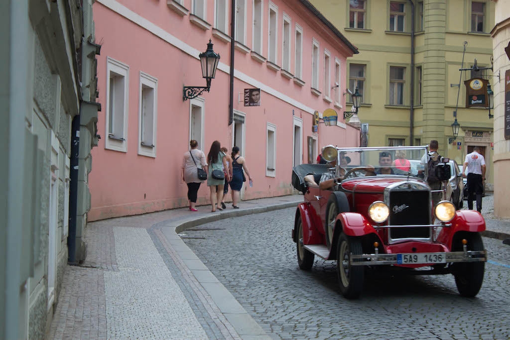 Prague Photos - Classic Car with Tourists