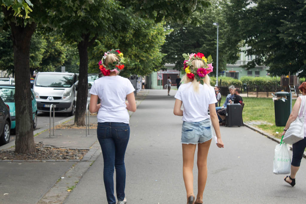 Prague Photos - Girls With Flowers in Hair