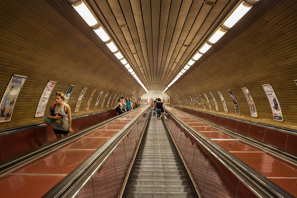 Prague Photos - Long Escalator for Underground Transit