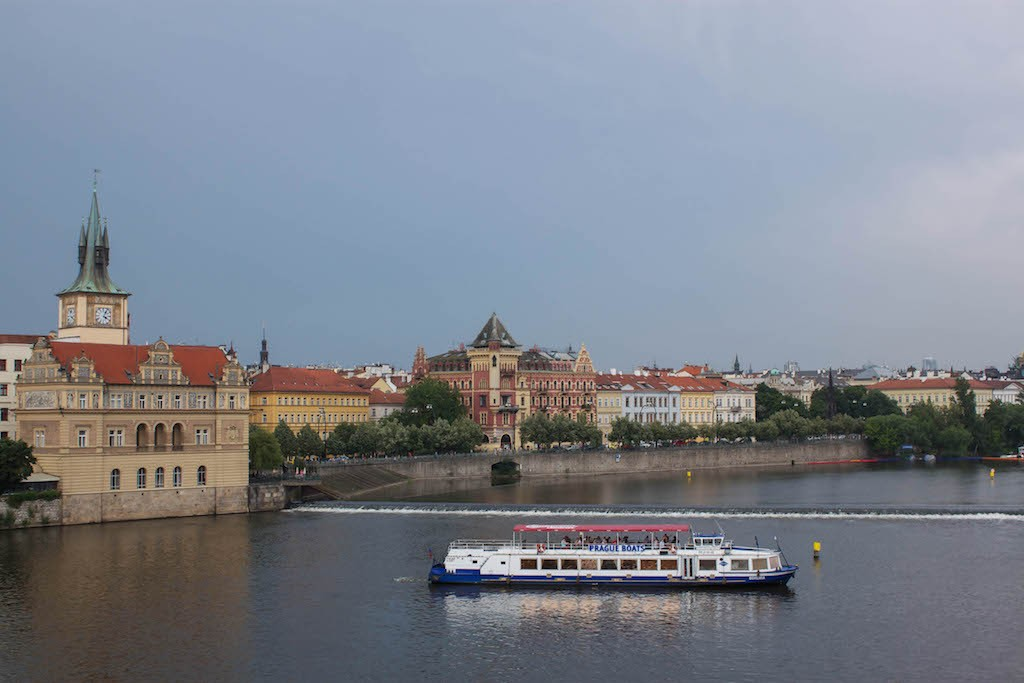 Prague Photos - View Over River from Charles Bridge