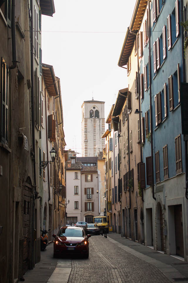 Streets of Brescia - Blue with Castle Tower
