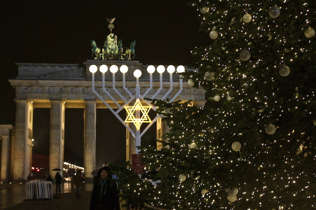 Brandenburger Tor at Christmas - Side View Through Tree