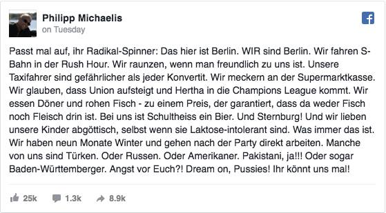 Philipp Michaelis Berlin Facebook Status Update