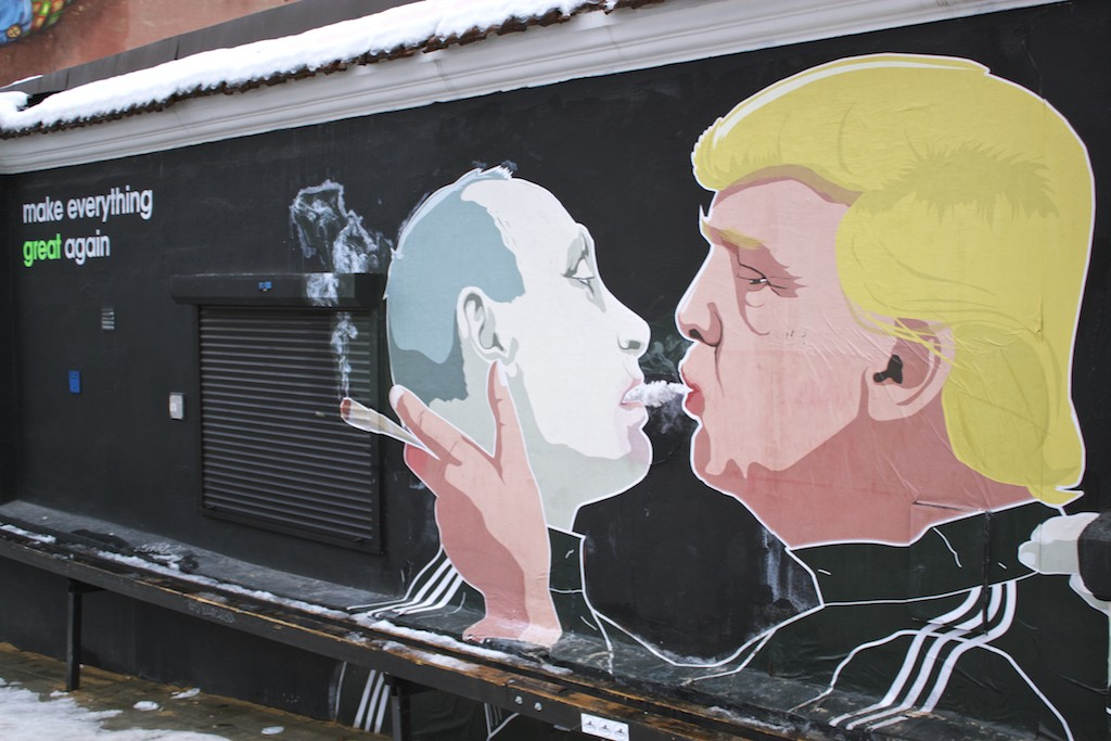Putin and Trump Shotgun Street Art in Vilnius - Make Everything Great Again
