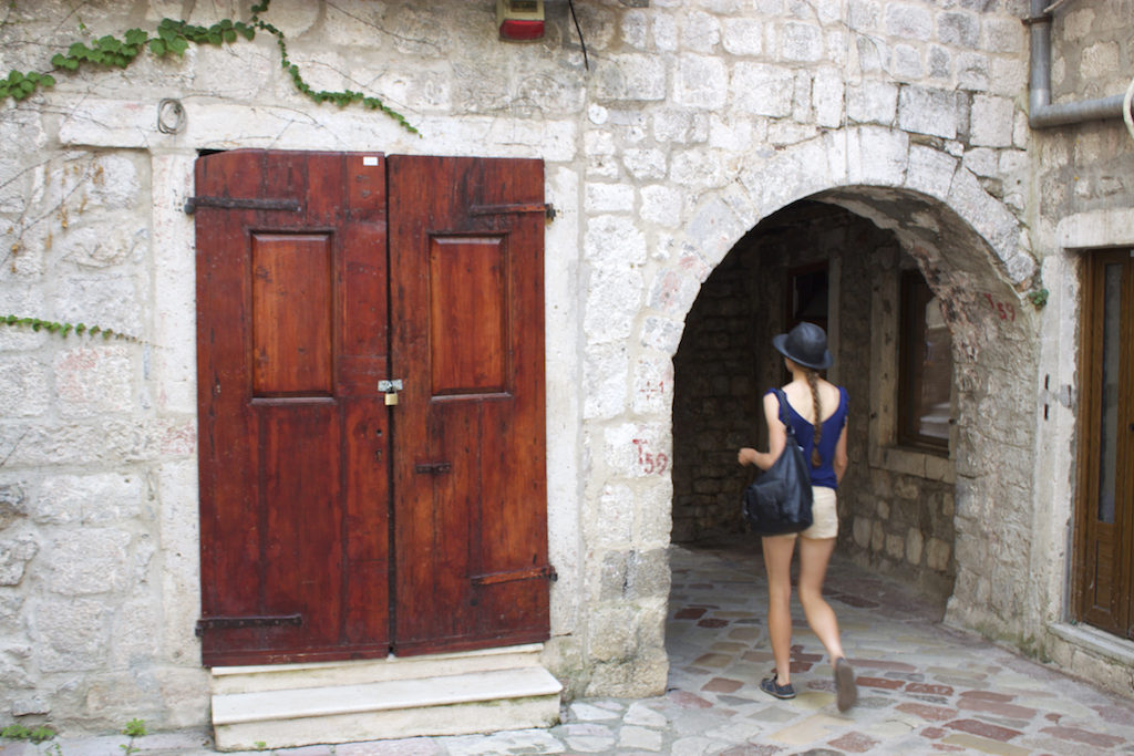 Kotor Montenegro - Girl Walking Old Town
