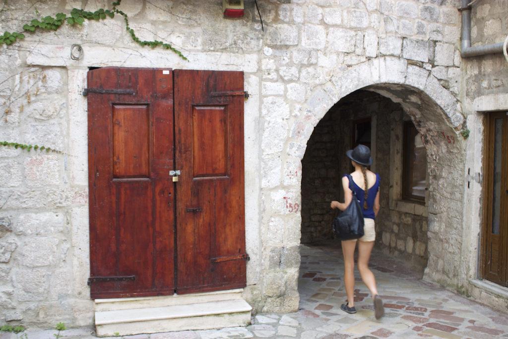 Kotor Montenegro - Girl Walking Old Town