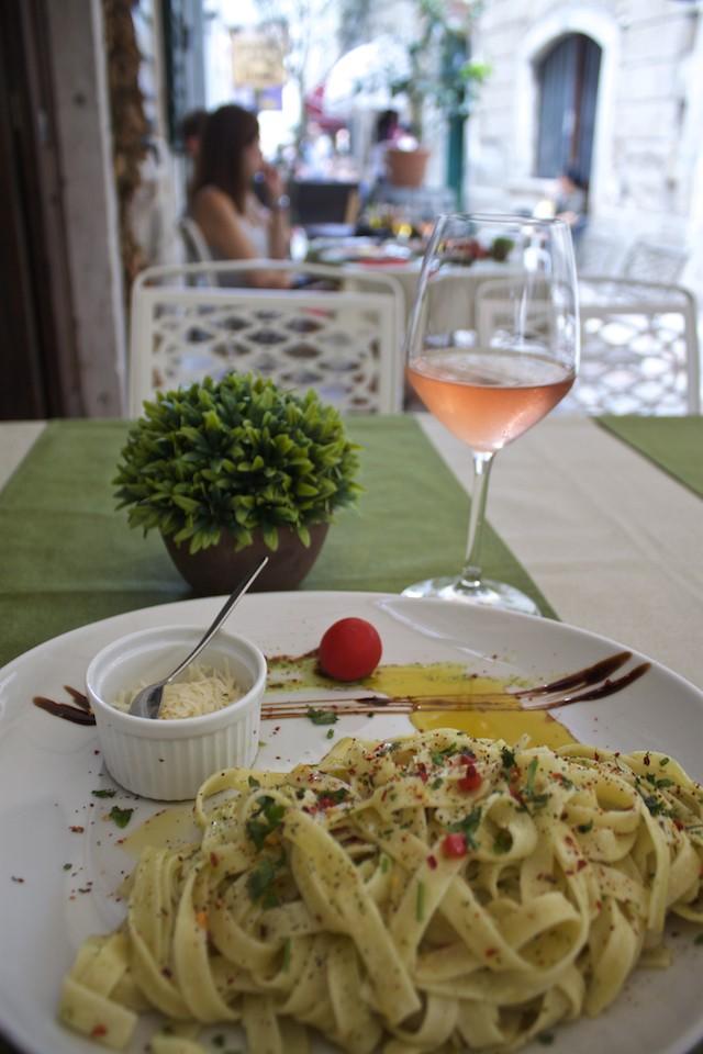 Kotor Montenegro - Pasta Dish and Wine