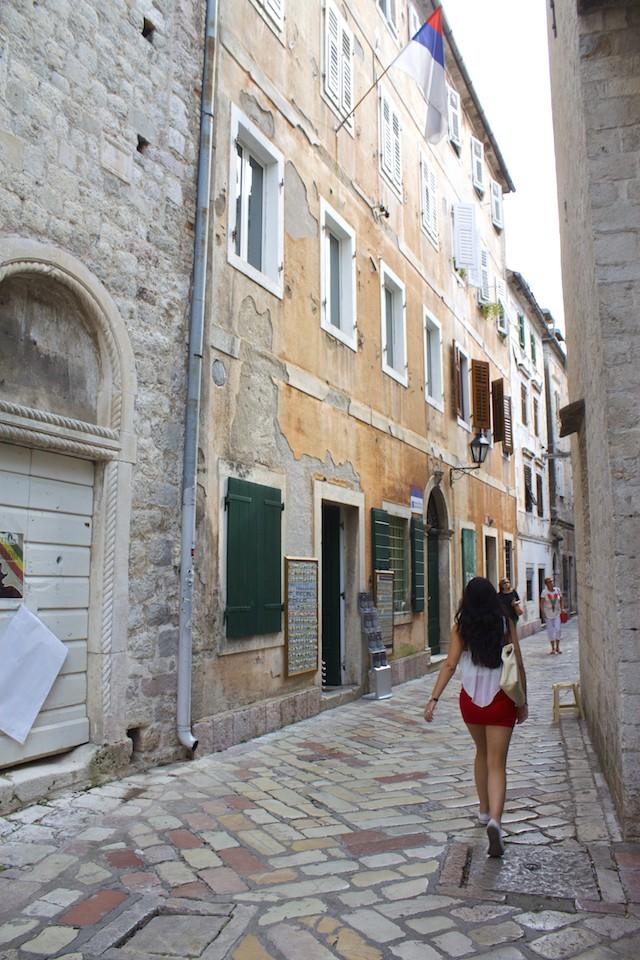 Kotor Montenegro - Streets of Old Town Girl Walking
