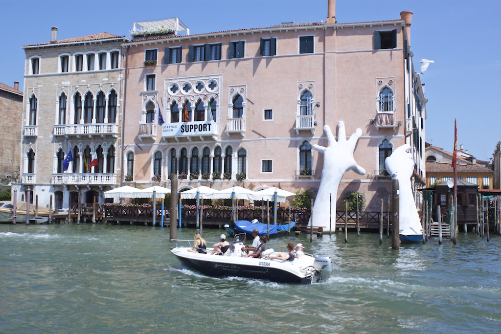 Hands Sculpture in the Venice Grand Canal - Venice Biennale