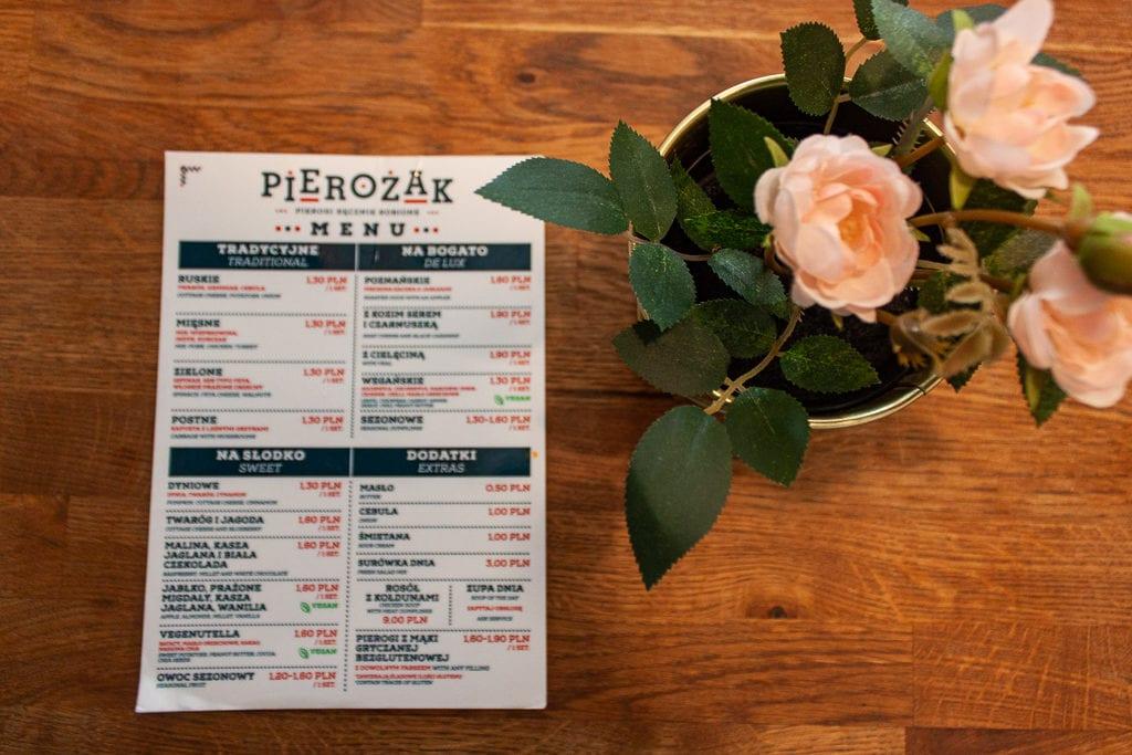 Poznan Restaurants - Pierożak Pierogarnia Menu