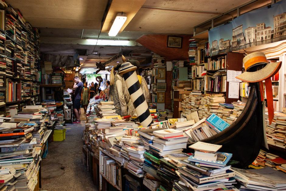 Libreria Acqua Alta Venice Italy Gondola With Books