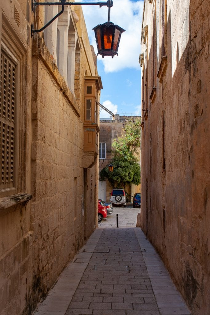 Mdina Malta - Lamp On Narrow Street