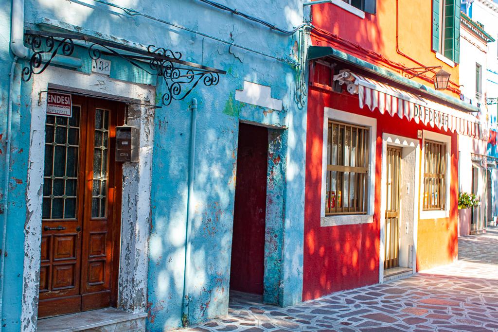 Visit Burano Italy - Blue Red Orange Combo