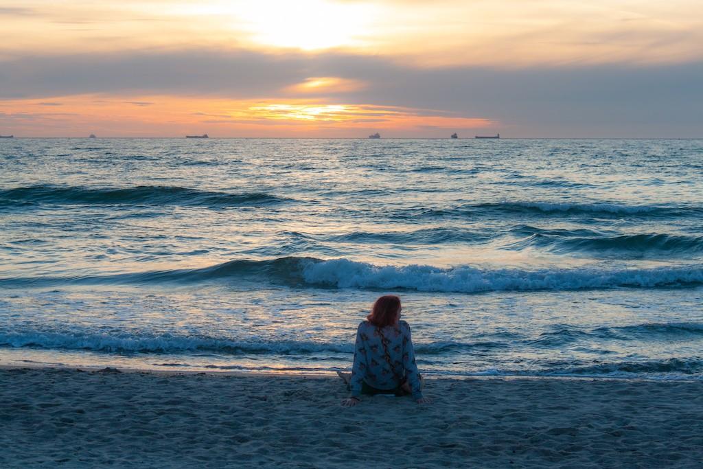Warnemünde Strand - Girl Alone At Beach