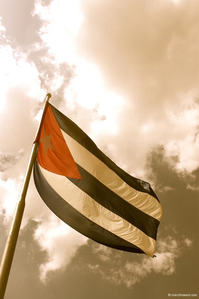 La Plaza De La Revolución In Havana, Cuba Flag