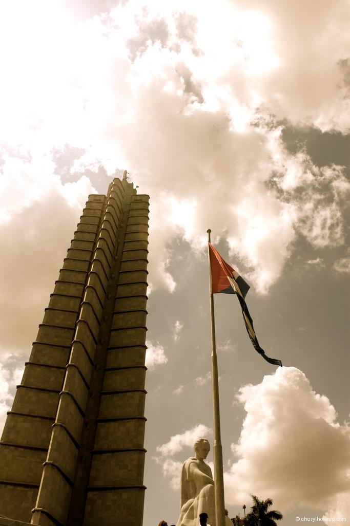 La Plaza De La Revolución In Havana, Cuba Flag Statue