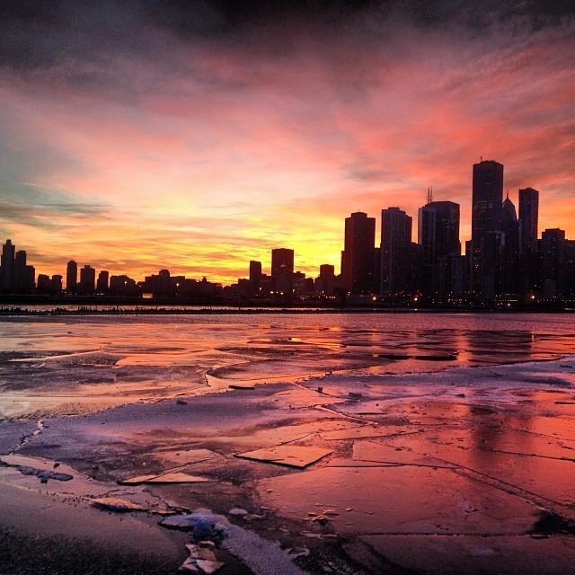 Chicago Sunset Winter