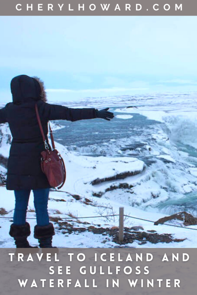 Travel To Iceland And See Gullfoss Waterfall In Winter - Pin